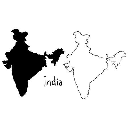 outline and silhouette map of India - vector illustration hand drawn with black lines, isolated on white background Illustration