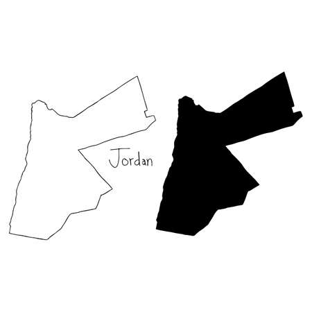 outline and silhouette map of Jordan - vector illustration hand drawn with black lines, isolated on white background Illustration