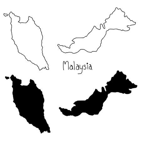outline and silhouette map of Malaysia - vector illustration hand drawn with black lines, isolated on white background