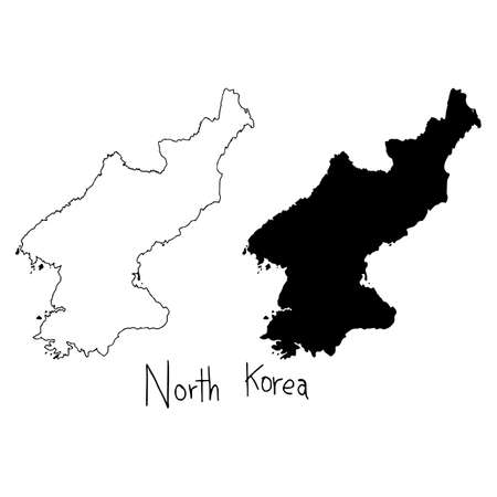 outline and silhouette map of North Korea - vector illustration hand drawn with black lines, isolated on white background