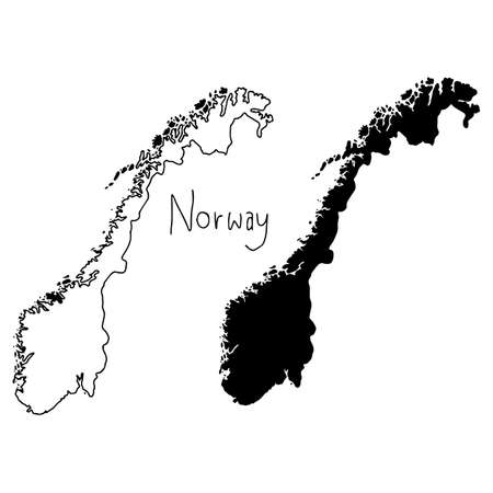 outline and silhouette map of Norway - vector illustration hand drawn with black lines, isolated on white background