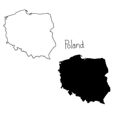 wroclaw: outline and silhouette map of Poland - vector illustration hand drawn with black lines, isolated on white background