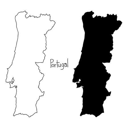 outline and silhouette map of portugal - vector illustration hand drawn with black lines, isolated on white background 矢量图像