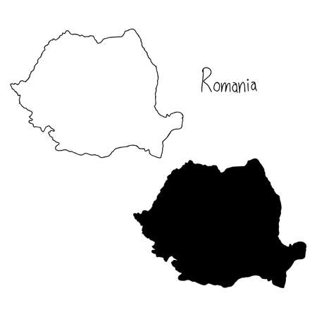 outline and silhouette map of Romania - vector illustration hand drawn with black lines, isolated on white background Illustration
