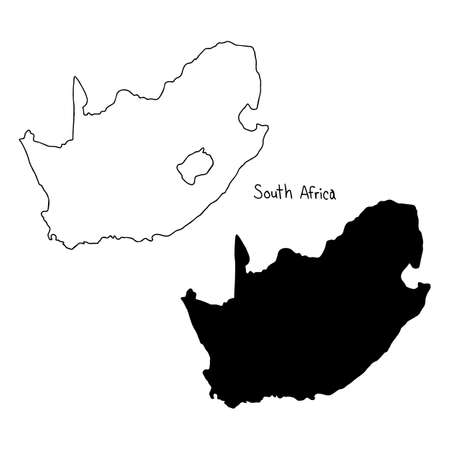 outline and silhouette map of South Africa - vector illustration hand drawn with black lines, isolated on white background