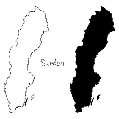 outline and silhouette map of Sweden - vector illustration hand drawn with black lines, isolated on white background