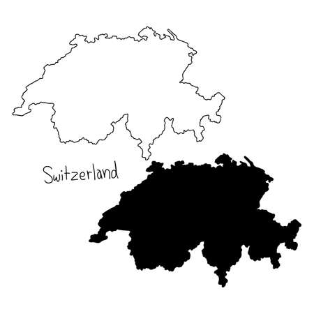 outline and silhouette map of Switzerland - vector illustration hand drawn with black lines, isolated on white background
