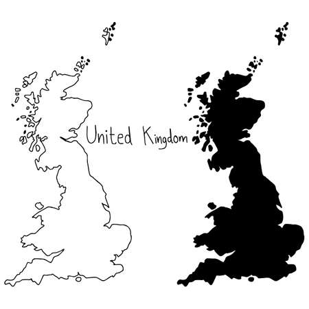 outline and silhouette map of United Kingdom - vector illustration hand drawn with black lines, isolated on white background