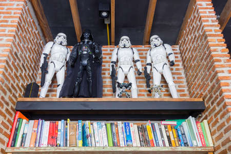 BANGKOK, THAILAND - MAY 1 : Star wars troopers and Darth Vader on the book shelf on May 1, 2017 in Bangkok, Thailand.