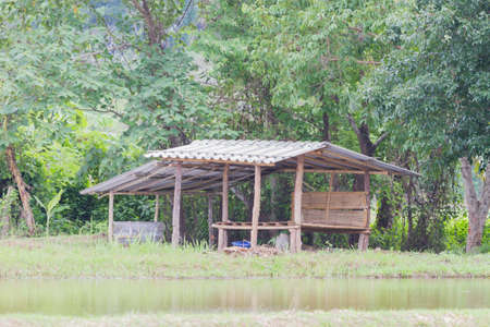 terraced field: Thai traditional hut on the rice field, Thailand