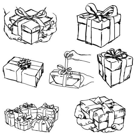 offering: Hand holding or offering gift or present - vector illustration sketch hand drawn isolated on white background