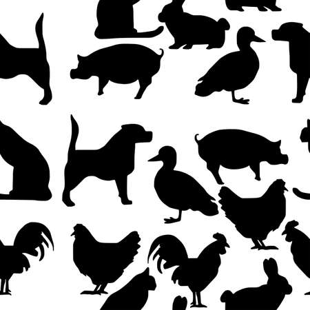 seamless pattern pets silhouette - vector illustration hand drawn with black lines, isolated on white background Illustration