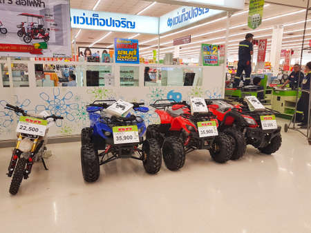 illustrative editorial: CHIANG RAI, THAILAND - MAY 16 : ATV quad bikes sold in supermarket on May 16, 2017 in Chiang rai, Thailand. Editorial