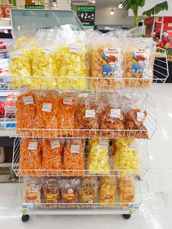 caloric: CHIANG RAI, THAILAND - MAY 14 : various snacks on May 14, 2017 in Chiang rai, Thailand.
