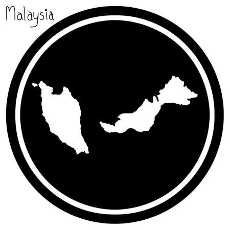 vector illustration white map of Malaysia on black circle, isolated on white background