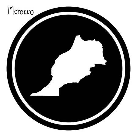 geographical: vector illustration white map of Morocco on black circle, isolated on white background Illustration