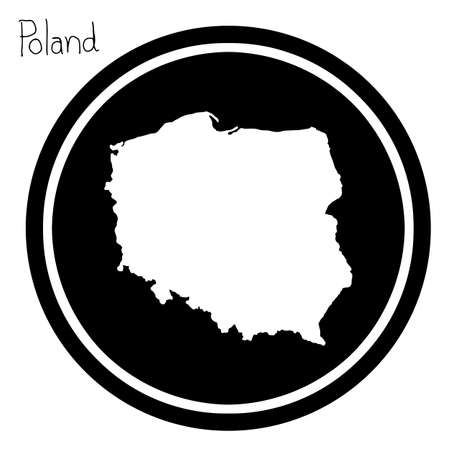 wroclaw: vector illustration white map of Poland on black circle, isolated on white background