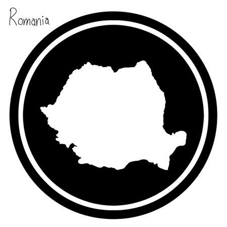 vector illustration white map of Romania on black circle, isolated on white background