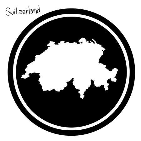 vector illustration white map of Switzerland on black circle, isolated on white background Illustration