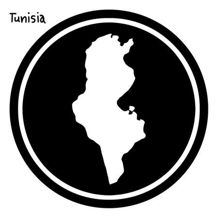 geographical: vector illustration white map of Tunisia on black circle, isolated on white background