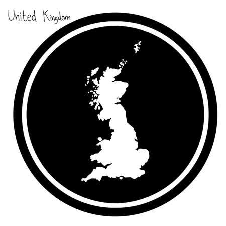 vector illustration white map of United Kingdom on black circle, isolated on white background