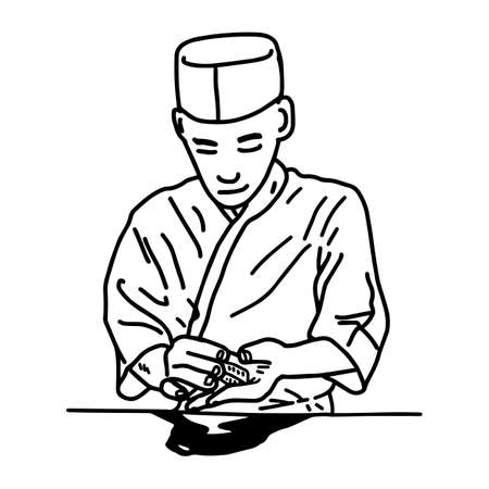 Asian chef making sushi at the restaurant. Illustration