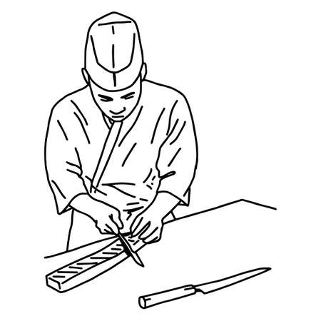 Asian chef filleting fish to make sushi on the table - vector illustration sketch hand drawn with black lines, isolated on white background