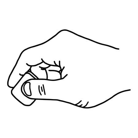 Close up hand using rubber eraser - vector illustration sketch hand drawn with black lines, isolated on white background