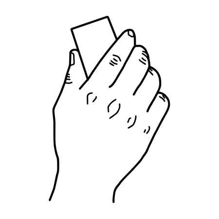 Hand met blackboard gum - vector illustratie schets hand getekend met zwarte lijnen, geïsoleerd op een witte achtergrond
