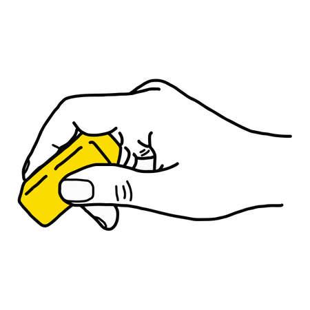 bouchent la main avec une gomme en caoutchouc jaune - illustration vectorielle croquis dessinés à la main avec des lignes noires, isolé sur fond blanc Vecteurs