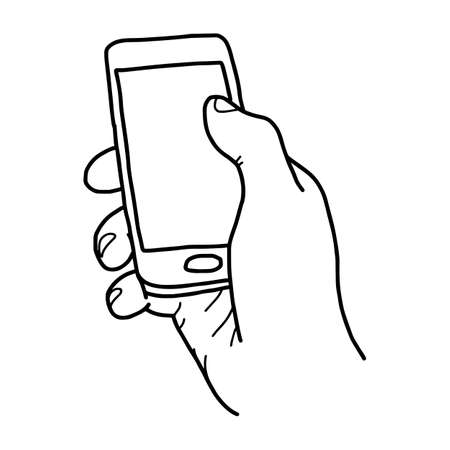 using smartphone: right hand holding small mobile phone with blank space - vector illustration sketch hand drawn with black lines, isolated on white background