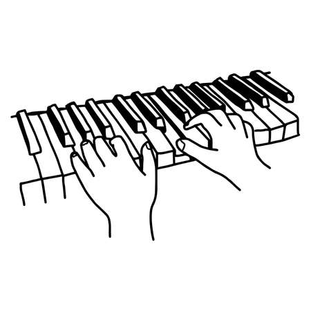 Closeup hands playing the keyboard or piano - vector illustration sketch hand drawn with black lines, isolated on white background Illustration