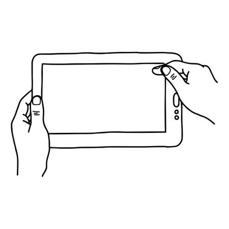 touchpad: Hands holding digital tablet pc - vector illustration sketch hand drawn with black lines, isolated on white background