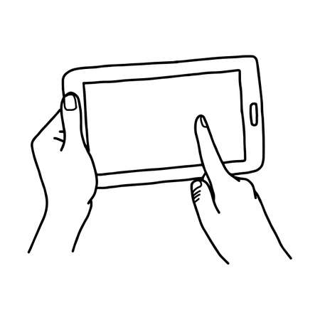 Hand using tablet with finger touching screen - vector illustration sketch hand drawn with black lines, isolated on white background