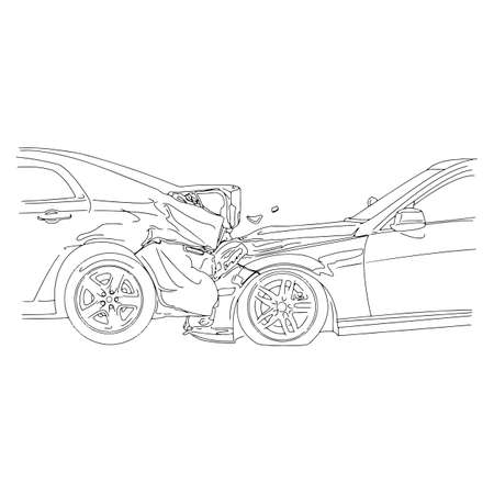 wreck: Auto accident involving two cars - vector illustration outline sketch isolated on white background