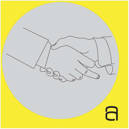 rudeness: handshake businessman with showing middle finger - vector illustration outline sketch isolated on gray background
