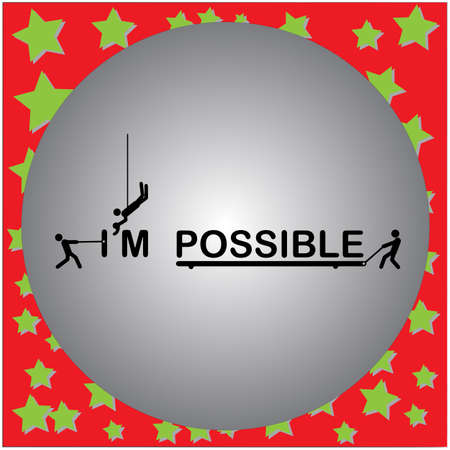 Vector illustration three men change the word impossible to Im possible Illustration