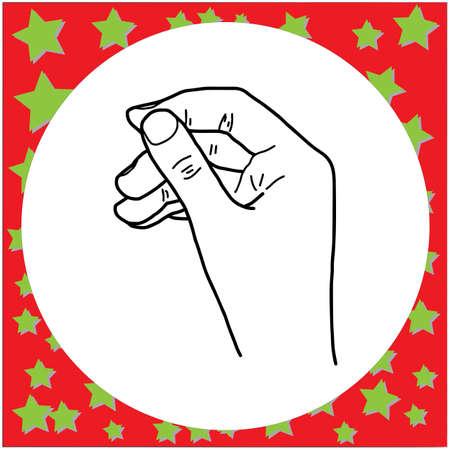 vector illustration black lines of left hand gesture hold something, isolated on white background Illustration
