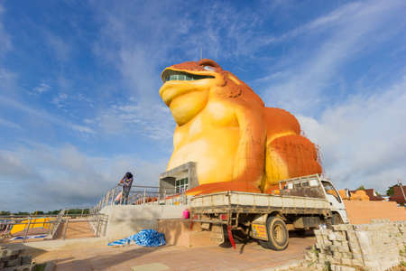 YASOTHON, THAILAND - JULY 9 : construction of toad museum at Phaya Thaen Public Park on July 9, 2017 in Yasothon, Thailand. Big Statue toad is landmark travel in yasothon Editorial