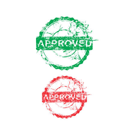 acception: green and red approved dirty grunge circle stamp vector illustration Illustration