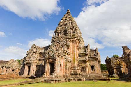 Impressive Prasat Hin Phanom Rung Ancient Khmer Temple under Vibrant Blue Sky, Buriram Province of Thailand Stock Photo