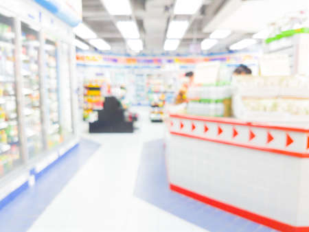 convenience store blurred interior background with bokeh in Thailand Stok Fotoğraf