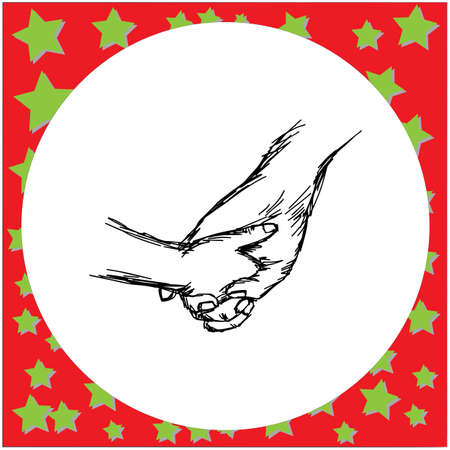 baby tiny hand holding mother hand vector illustration sketch hand drawn with black lines, isolated on white background.