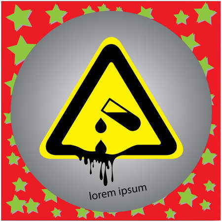 Corrosive substance or acid warning sign vector illustration, isolated on gray background Illustration