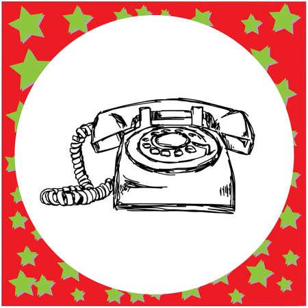 téléphone rétro vintage vector illustration croquis dessinés à la main avec des lignes noires, isolé sur fond blanc