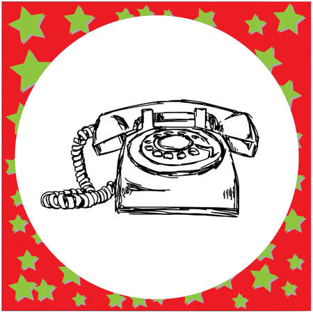 vintage retro telephone vector illustration sketch hand drawn with black lines, isolated on white background
