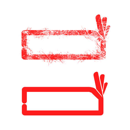 Red grunge rubber stamp OK sign with rectangular copyspace in the middle vector illustration, isolated on white background