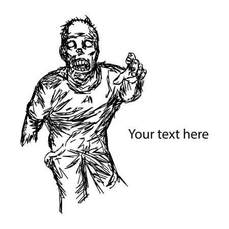 Hambriento zombie mostrando su mano utilizada para Halloween con copyspace ilustración vectorial boceto dibujado a mano con líneas negras, aisladas sobre fondo blanco Foto de archivo - 85481525