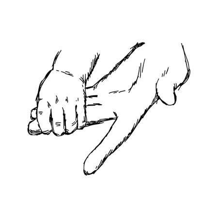 Dibujado a mano con líneas negras de la mano del bebé y de la madre, sosteniéndose unos a otros Foto de archivo - 85615386