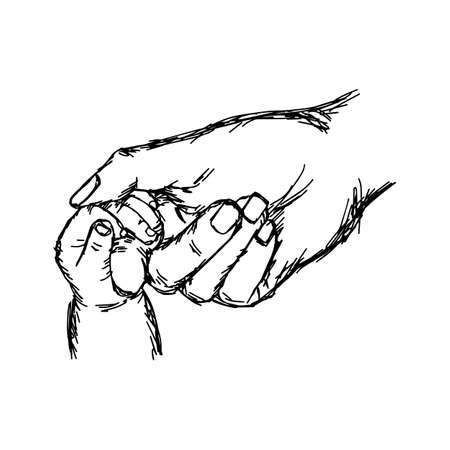Hand drawn with black lines of hand of baby and mother hand, holding each other